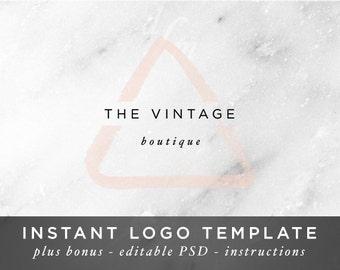Geometric Logo - Triangle Logo - Watercolor Logo - Pink Logo - Mint Logo - Gold Logo - Photoshop Template - DIY Logo - Modern Minimal Design