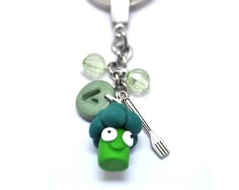 Broccoli Keyring, Vegan Keyring, Broccoli Lover, Vegan Broccoli, Vegan Keychain, Vegan Gift, Plant Eaters, Green Broccoli, Broccoli Keychain