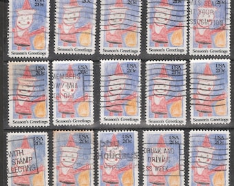 25 CRAYON SANTA CLAUS Vintage 20c Used Christmas United States Postage Stamps *Based on a Child's Crayon Drawing