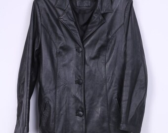 Vintage Womens L Coat Single Breasted Soft Leather 80s