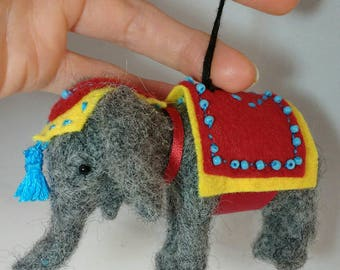 Christmas tree decoration ornament.elephant needle felted.elephant christmas tree.lucky elephant christmas ornament.TWOPI1DB