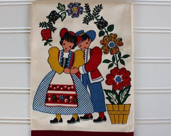 Vintage Towel - New Unused - 1950s 1960s - Colorful Couple - Kitchen Towel - Gift