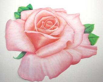 Vintage Beistle Die Cut Cardboard Decoration with Pretty Pink Rose