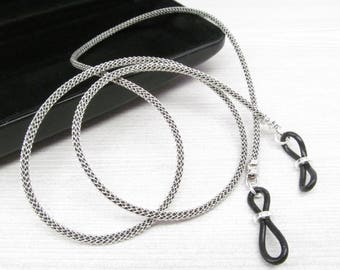 Black Leather Eyeglass Leash; Eyeglass Chain; Reading Glasses Necklace Holder; Glasses Cord; Glasses Chain For Men; Eyewear for men