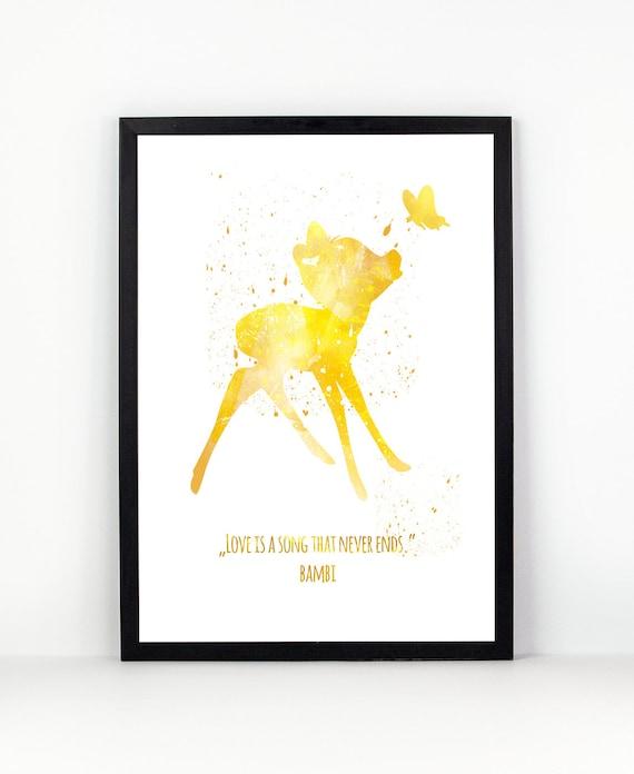 Bambi Disney Bambi print Disney fan art Watercolor