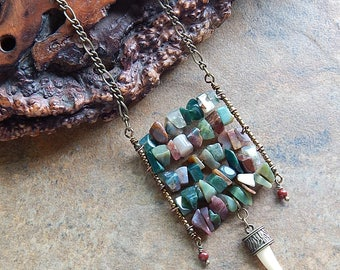 Multicolor agate ladder necklace - faux claw necklace - long boho structured statement necklace - layering necklace - festival jewelry