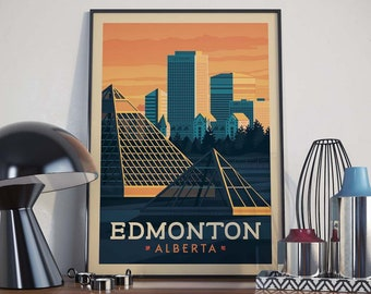 Edmonton, Alberta City Illustration Print