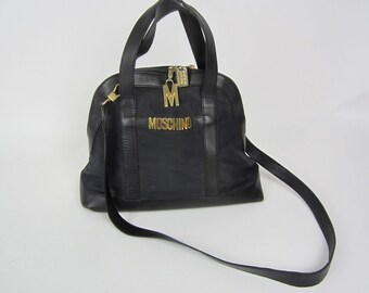 vtg MOSCHINO Redwall black nylon and leather bag with long strap