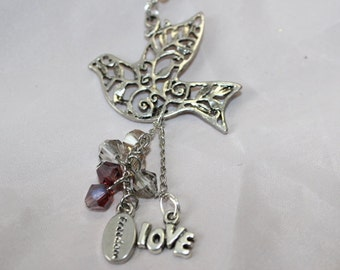 Peace, Love and Freedom Dove Rosary Necklace