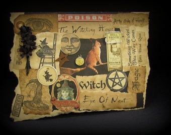 Halloween Note Card, Witch Greeting Card, Witch Halloween, Halloween Witch Card, #98, Witch Halloween Card, Collage Card, Black Card, Wicca