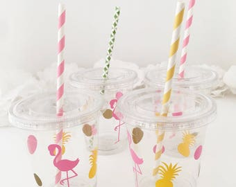 Flamingo Pineapple Party Cups - Flamingo Bachelorette - Flamingo Birthday - Pineapple Cups - Lets Flamingle - Treat Cups - Summer Luau Party