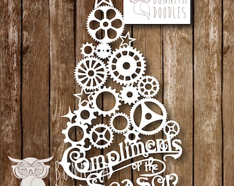 Steampunk Cogs Christmas Tree Paper cutting Template Commercial