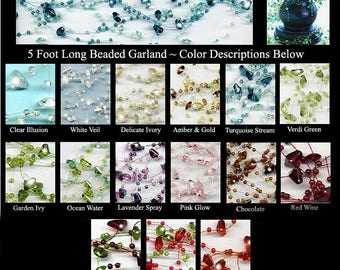 Beaded Garland ~ Strung Beads Decoration for Candles, Mirrors, Tabletop for Wedding, Reception, Showers & Events.