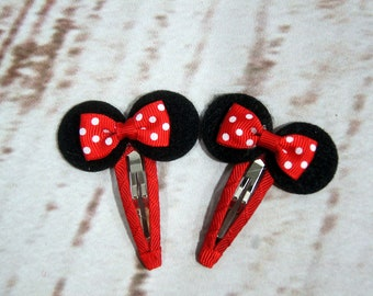 Minnie Mouse, Baby Hair Barrettes, Toddler Barrettes, First Birthday Girl,  Baby Shower gift, Baby and Toddler Clips