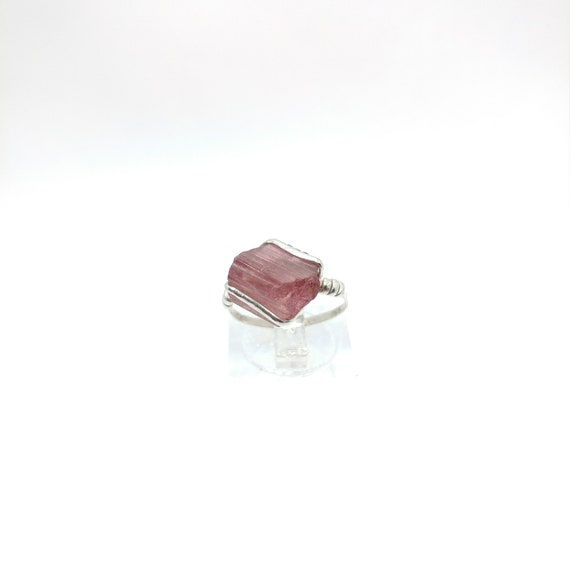 Gift for Mom | Pink Tourmaline Crystal Ring | Sterling Silver Ring Sz 6.5 | Raw Tourmaline Ring | Uncut Gemstone Ring | October Birthstone
