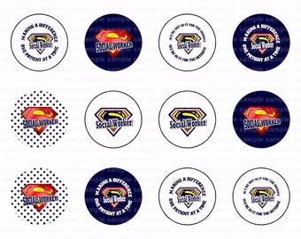 Super Social Worker - Button Size Images 1.629 Inch (1.25 inch Button) Digital Collage Sheet for Badges n Buttons