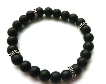 Men Bracelet Matte Black Onyx Beaded Bracelet