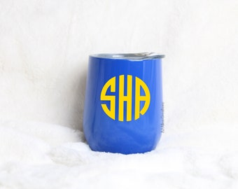 Monogrammed Swig Drink or Wine Tumbler | Royal Blue