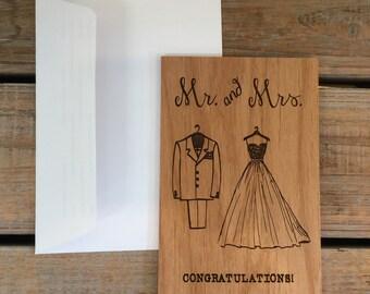 Wedding Card, Wood Card, Wedding Congratulations Card- Congratulations Mr and Mrs, Anniversary Card, Congratulations Card, Funny Cute Card