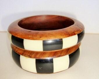 2 Retro Bangle Bracelet With Inlaid Bone & Wood design