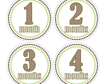 12 Monthly Baby Milestone Waterproof Glossy Stickers - Just Born - Newborn - Weekly stickers available - Design M001-04