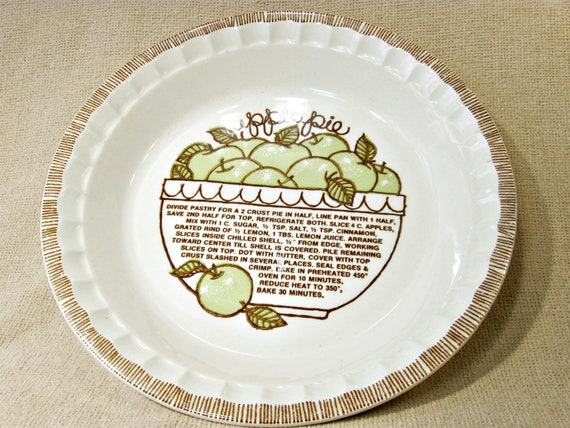 Vintage Apple Pie Plate with Recipe Baking Pie Dish from WonByOneVintage on Etsy Studio & Vintage Apple Pie Plate with Recipe Baking Pie Dish from ...