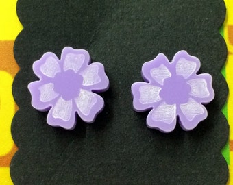 Flower Laser Cut Earrings - acrylic, perspex, plastic, stud, retro, purple, daisy