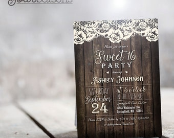 Country Sweet 16 Invitation - Personalized Printable DIGITAL FILE