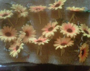wedding  sunflower shabby chic x14 twine rope and organza ribbon finish