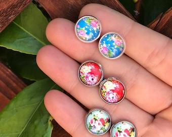 Vintage Rose Studs || Flower Studs || Botanical Studs || Boho Chic Earrings