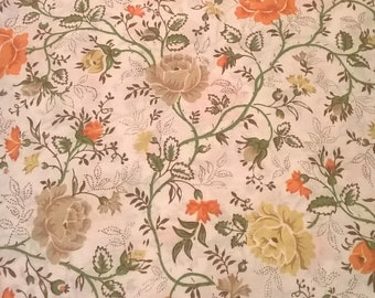 Vintage JCPenney Queen Flat Sheet - 'Juliette' in the Autumnal Colorway