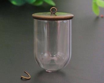 3sets--30x20mm Transparent glass globe pendant with bronze cap with 70cm necklace chain set