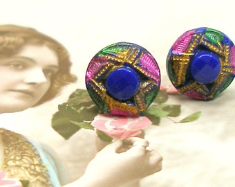 1920s Tiny BUTTON earrings, Blue glass on sterling silver posts. Antique button jewellery.