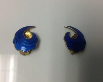 A. SCH Norway Sterling Silver Blue Guilloche Enamel Clip Earrings (Albert Scharning)