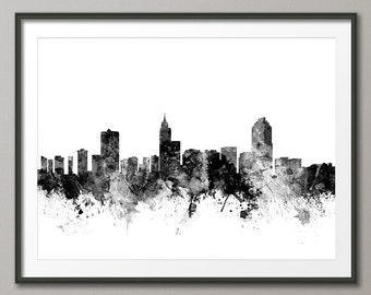 Raleigh Skyline, Raleigh North Carolina Cityscape Art Print (1774)
