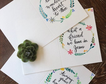 Set of 3 Hymn Lyric Watercolor Floral Cards! Encouragement, Just because, Blank Cards