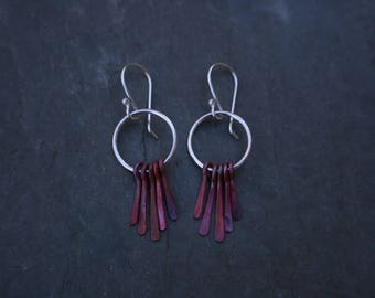 silver circle hoop earrings with red patinated copper tassels