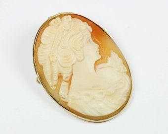 Vintage Art Nouveau Style (1890-1910) 9ct Yellow Gold Conch Shell Cameo Brooch