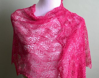 Hand knitted pink lace shawl, pink bamboo cotton lace shawl, pink summer shawl, Bamboo summer wrap, vegan loans knitted lace wrap..