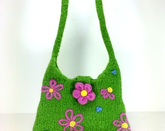 Hand Knit and Felted Green Purse Handbag with pink and yellow flowers.