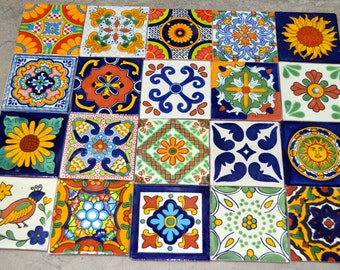 100 Mexican Talavera Tile mix 4x4""