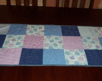 Quilted Table Runner, Handmade, Blue, Purple Ornaments, Table Topper, 16 x 37 Inches, Machine Quilted, Winter, Holiday Decor