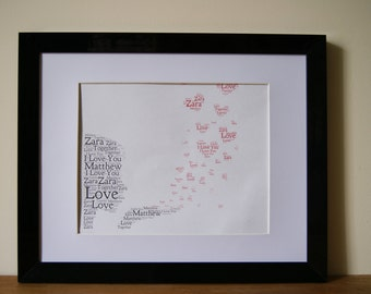 Personalised Word Art Print love engagement wedding anniversary gift Frame