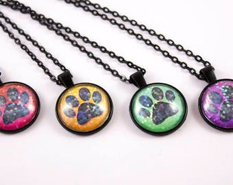 Glitter Paw Print Necklace - Cabochon Pendant