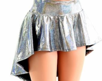 Silver Holographic Hi-Lo Mini Skirt Rave Festival Skirt 152472