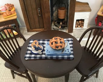 Blueberry Pie fresh from the Clay Oven for 1:12 Scale Dollhouse or Barbie  Price for one pie with tray and a and a slice of pie