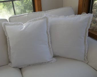 Pair Bright White Pillow Shams Custom Sizes Drop Cloth Pillows Frayed Edge Pillows Raggedy Decorative Pillows