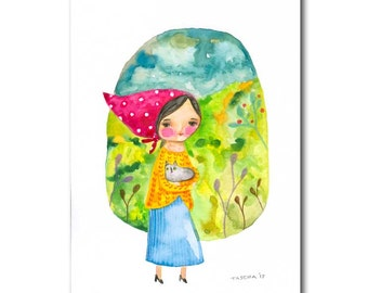 Original Watercolor with pencil details Babushka with Gray Cat folk art painting by TASCHA