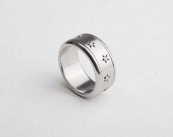 Diamond Stars Ring, Diamond Spinner Ring, Stars Wedding Band, Mens Engagement Ring, Mens Unique Ring, Cool Eternity Ring, Fidget Ring