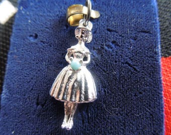 Vintage Bride/Bridesmaid Charm With Bead Bouquet Silver Tone Charm for Bracelet from Charmhuntress 04372